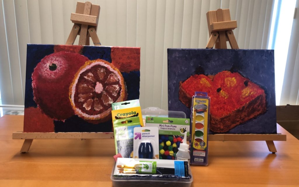 paintings and art supplies